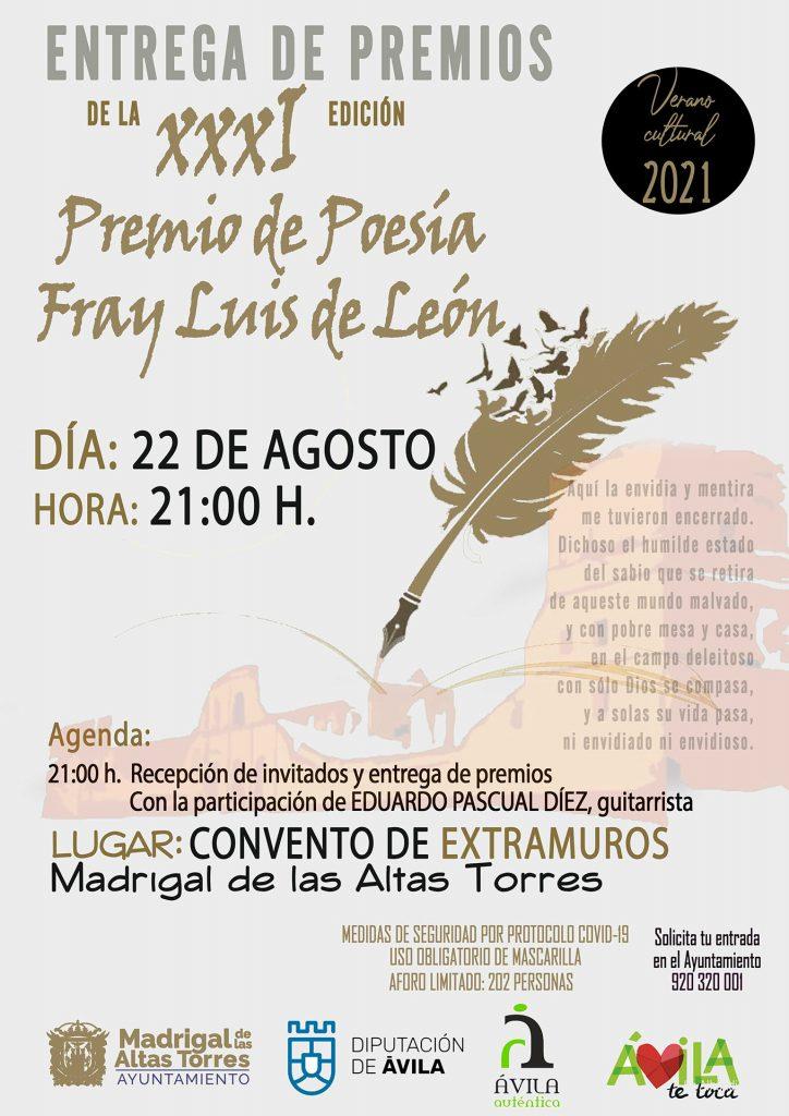 Madrigal de las Altas Torres. XXXI Premios Poesía FRAY LUIS DE LEÓN